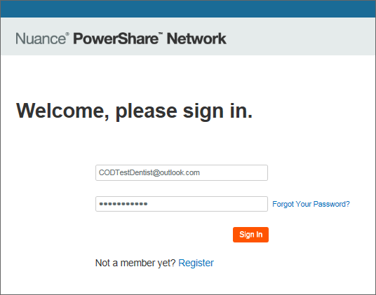 PowerShare sign in screen